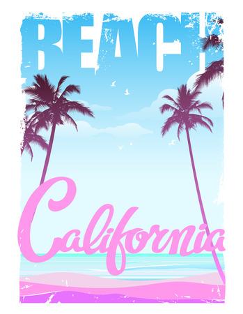 california beach: california beach lettering, print design