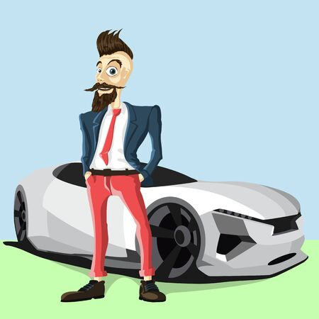 to spend the summer: hipster beard man and car.