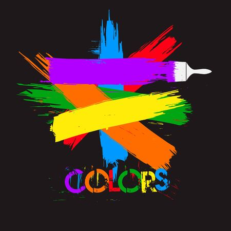 colors paint: Paint and brush, colors on black bacground Illustration
