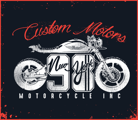 Motorcycle Custom T-shirt Design new york 矢量图像