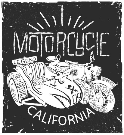 Vintage Motorcycle whith sidecar hand drawn t-shirt print