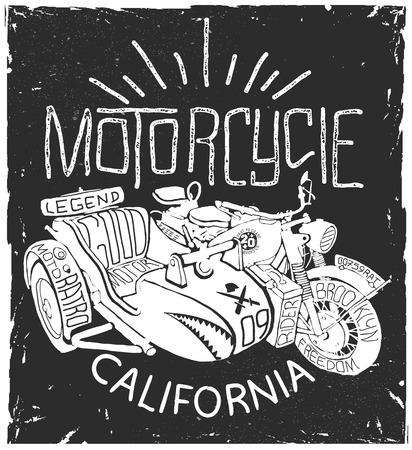 Vintage Motorcycle whith sidecar hand drawn t-shirt print Stok Fotoğraf - 66272252
