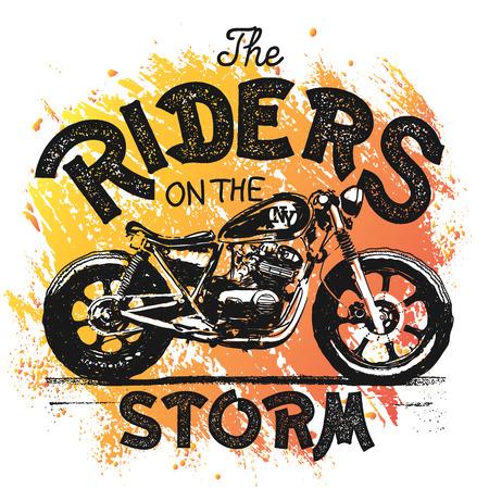Vintage Motorcycle hand drawn t-shirt print.