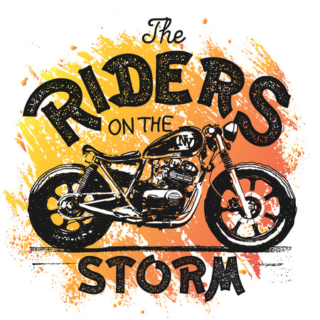 Vintage Motorcycle hand drawn t-shirt print. Vector Illustration