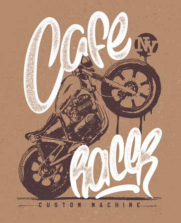 vintage cafe: Cafe racer Vintage Motorcycle hand drawn t-shirt print. Illustration