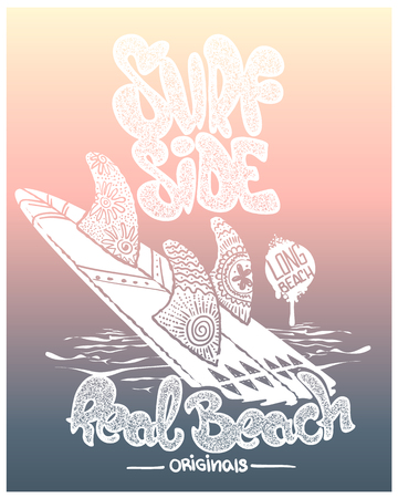 surf board with lettering type, t-shirt design.