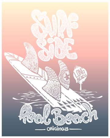tavola da surf con lettering, design t-shirt.