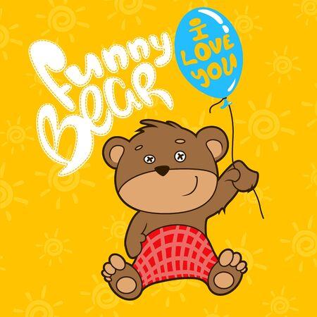 Funny bear whith ballon. Vector illustration Illustration
