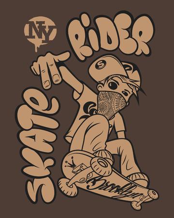 pilota Skate progettazione grafica t-shirt Vettoriali