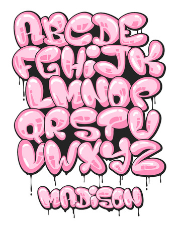 Graffiti bubble shaped alphabet set.