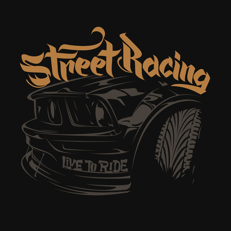 Racing car typography, t-shirt graphics lettering Illustration