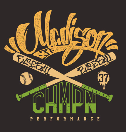 madison: Madison baseball club, vector print for sportswear.