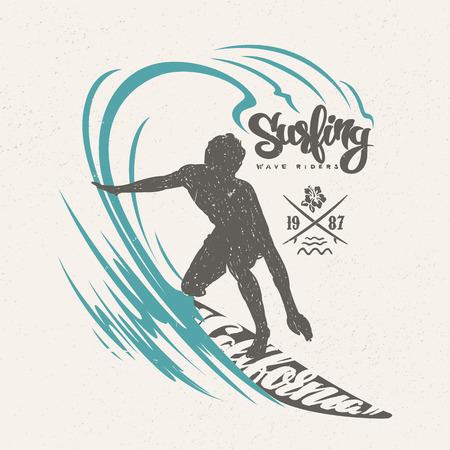 Surfer and big wave. T-shirt design.