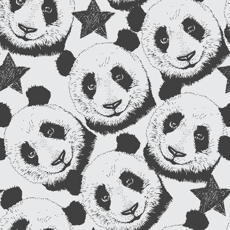 Hand-drawn seamless pattern background with panda and star 矢量图像