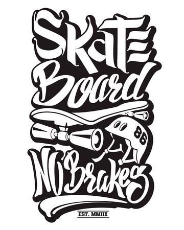 Skate board typography, t-shirt graphics, vectors.