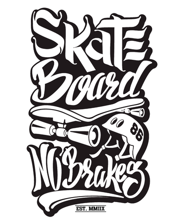 Skate board typography, t-shirt graphics, vectors.