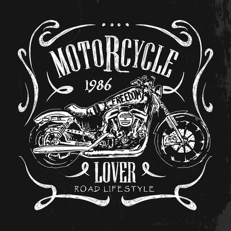 Vintage Motorcycle hand drawn vector t-shirt Illustration
