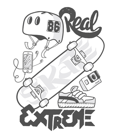 Skate board extreme, t-shirt graphics, vectors