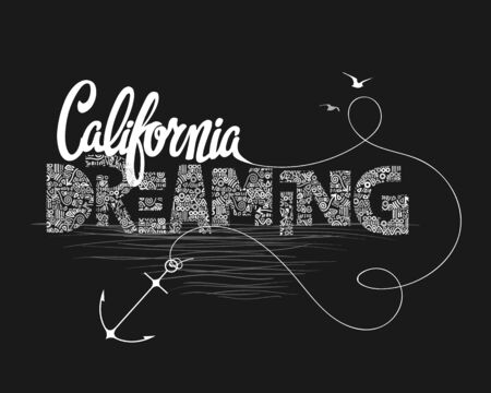 California dreaming typography, t-shirt graphics, vectors Illustration