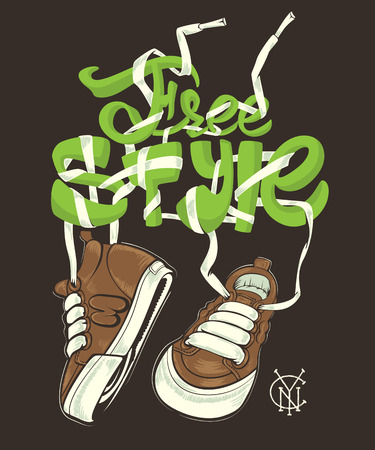 Vector Freestyle illustration with sneakers, shirt print