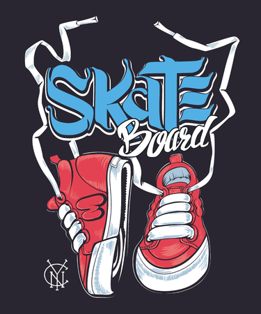 Sneakers and Skate board lettering, shirt print 矢量图像