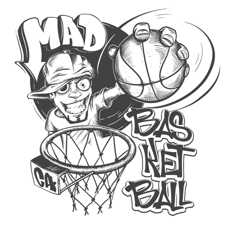 Mad basketball slam t-shirt print design vector illustration.