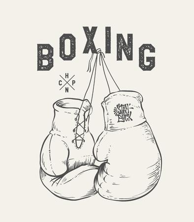 Guantes de boxeo ilustración vectorial. Diseño de impresión camiseta Ilustración de vector
