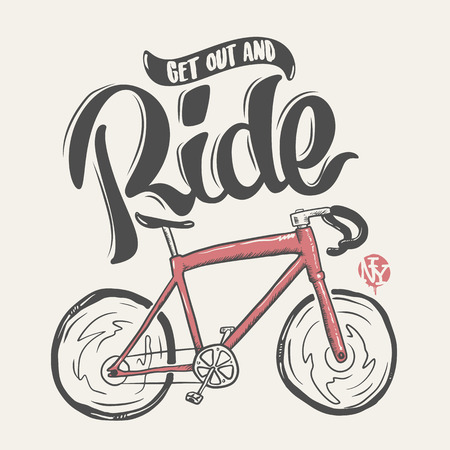 Bicycle hand drawn lettering ride, t-shirt print. Illustration