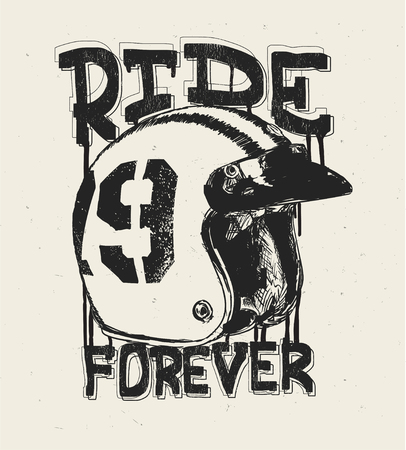 Motorcycle helmet, t shirt print, ride forever