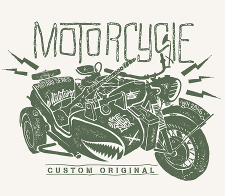Military Motorcycle whith sidecar hand drawn t-shirt print.