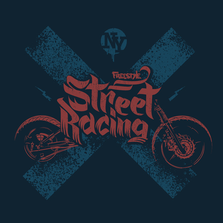 racing sign: motorcycle t shirt prints design vector illustration