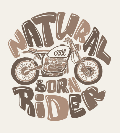 youngster: Cool motorcycle print design, vector illustration. Illustration