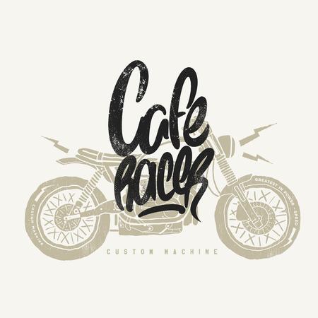 카페 레이서 빈티지 오토바이 손으로 그린 티셔츠 인쇄