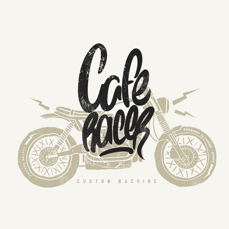 Cafe racer Vintage Motorcycle hand drawn t-shirt print