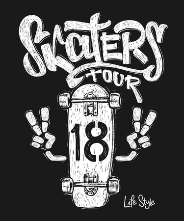 Skateboard graphic t-shirt design Ilustracja