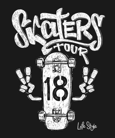 Skateboard graphic t-shirt design Illustration