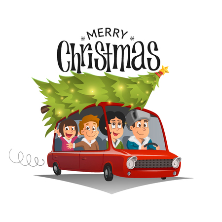 Merry Christmas illustration, family holidays on car