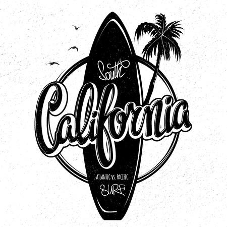 California surfing artwork, t-shirt apparel print graphics