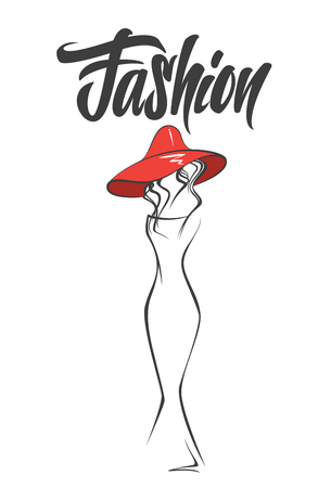 Female abstract silhouette in hat. Fashion style Illustration