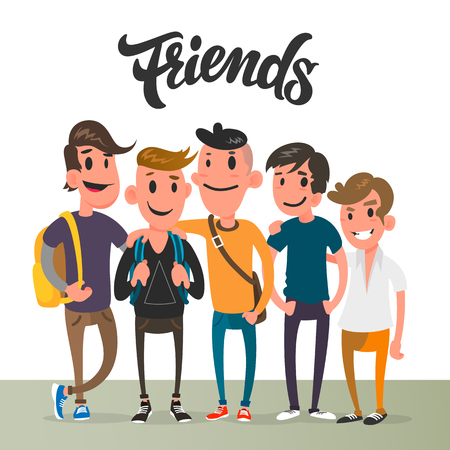 Cartoon guys, five best friends, student characters.