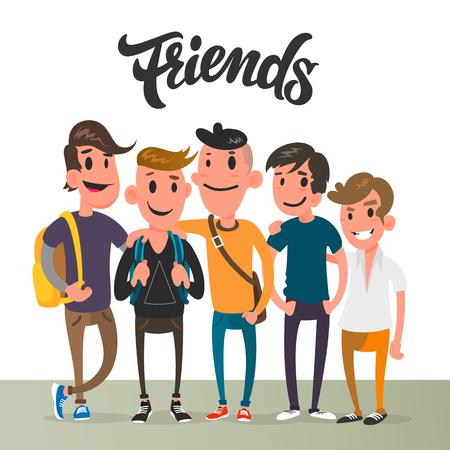Cartoon guys, five best friends, student characters.