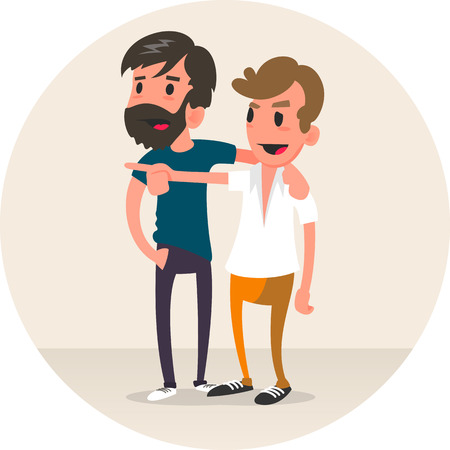 Young man showing something to his friend.  Vector flat design illustration