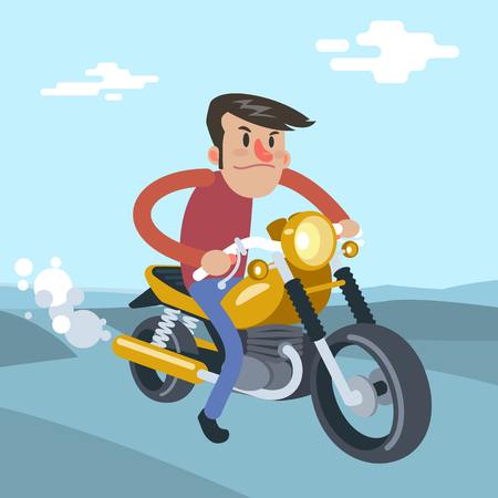 Man ride on motorcycle, cartoon vector flat illustration Vectores