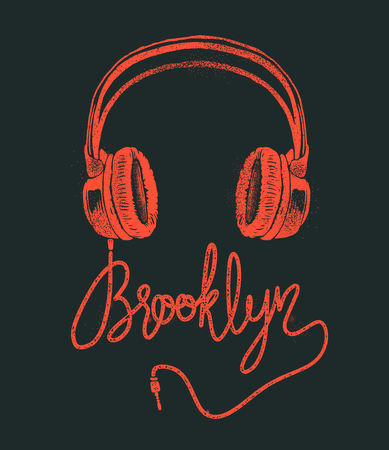 Headphone Brooklyn hand drawing, grunge vector illustration. Çizim