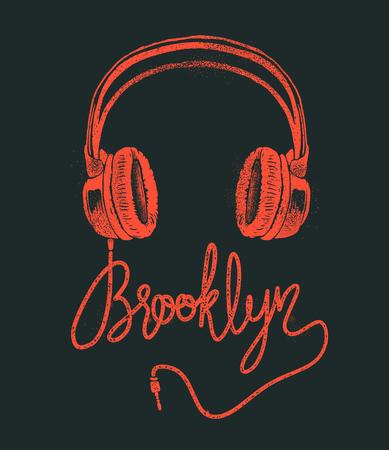Słuchawki Brooklyn rysunek ręka, ilustracja wektorowa grunge.