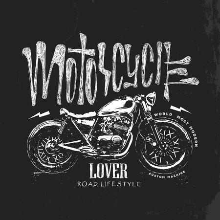 Vintage motorcycle hand drawn, vector t-shirt print.