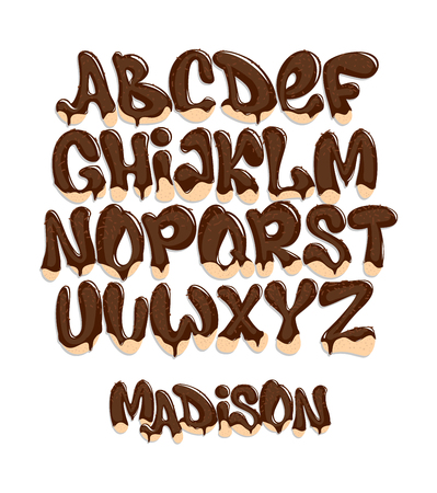 Chocolate Melting Typeset, sweet alphabet, vector illustration.