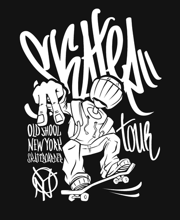Skater tour, t-shirt graphics design. 矢量图像