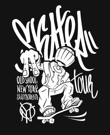 Skater tour, t-shirt graphics design. Stock Illustratie