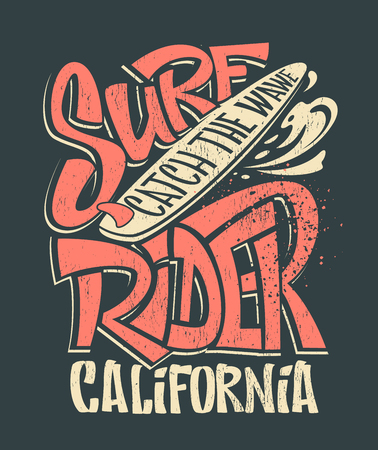 Surf rider print. T-shirt graphic design vector illustration. 矢量图像